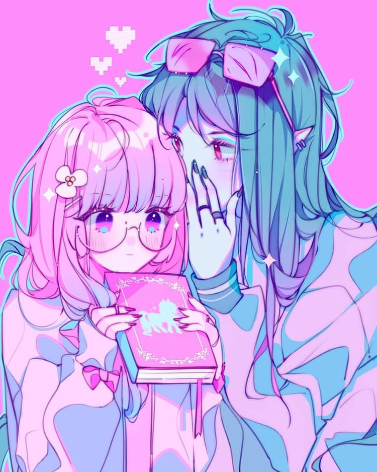 Anime Pink Cute Girl And Boy Pastel Art Aesthetic Alma 0111 On Instagram Anime Soft Anime Love An Aesthetic Anime Anime Kawaii Art