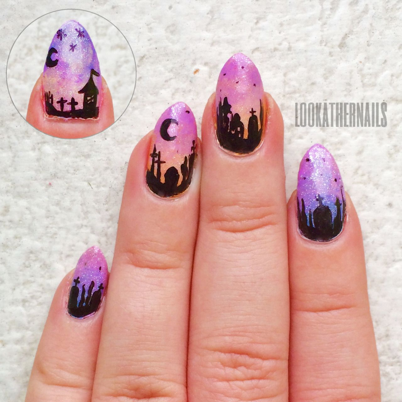 Saw a ton of graveyard silhouette nails this season and I ...