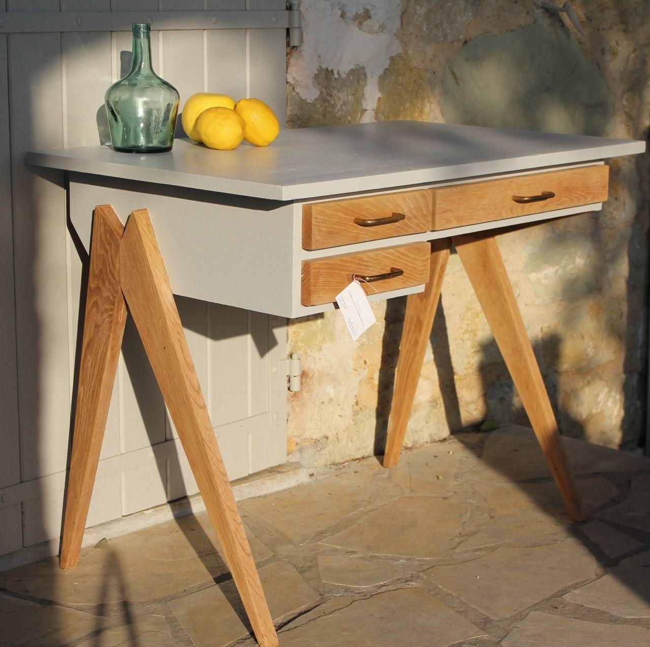 bureau vintage pieds compas scandinave ann es 60 meubles et rangements par citron 12 bureau. Black Bedroom Furniture Sets. Home Design Ideas