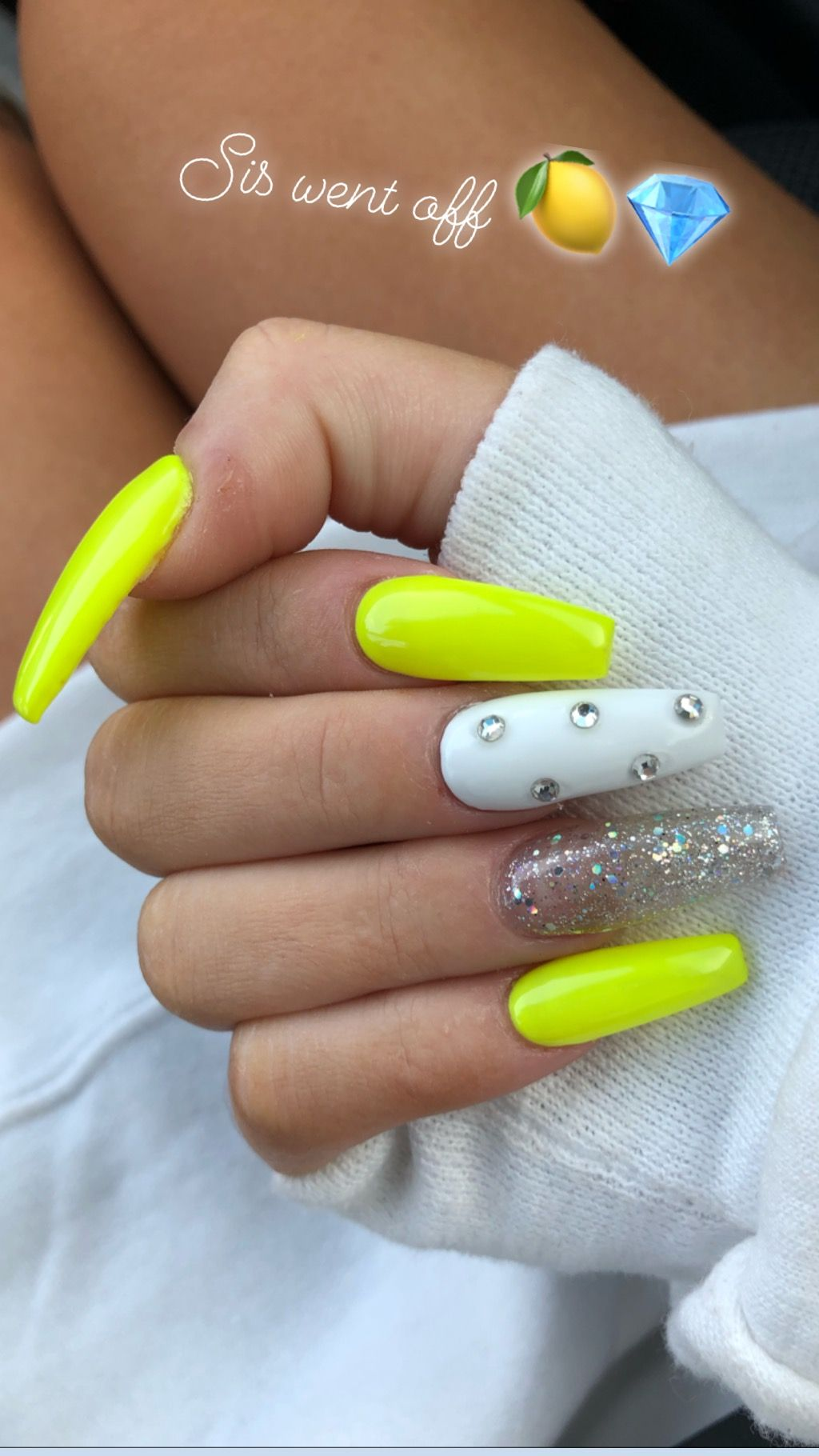 Neon Yellow Nails With Rhinestones And Glitter Neon