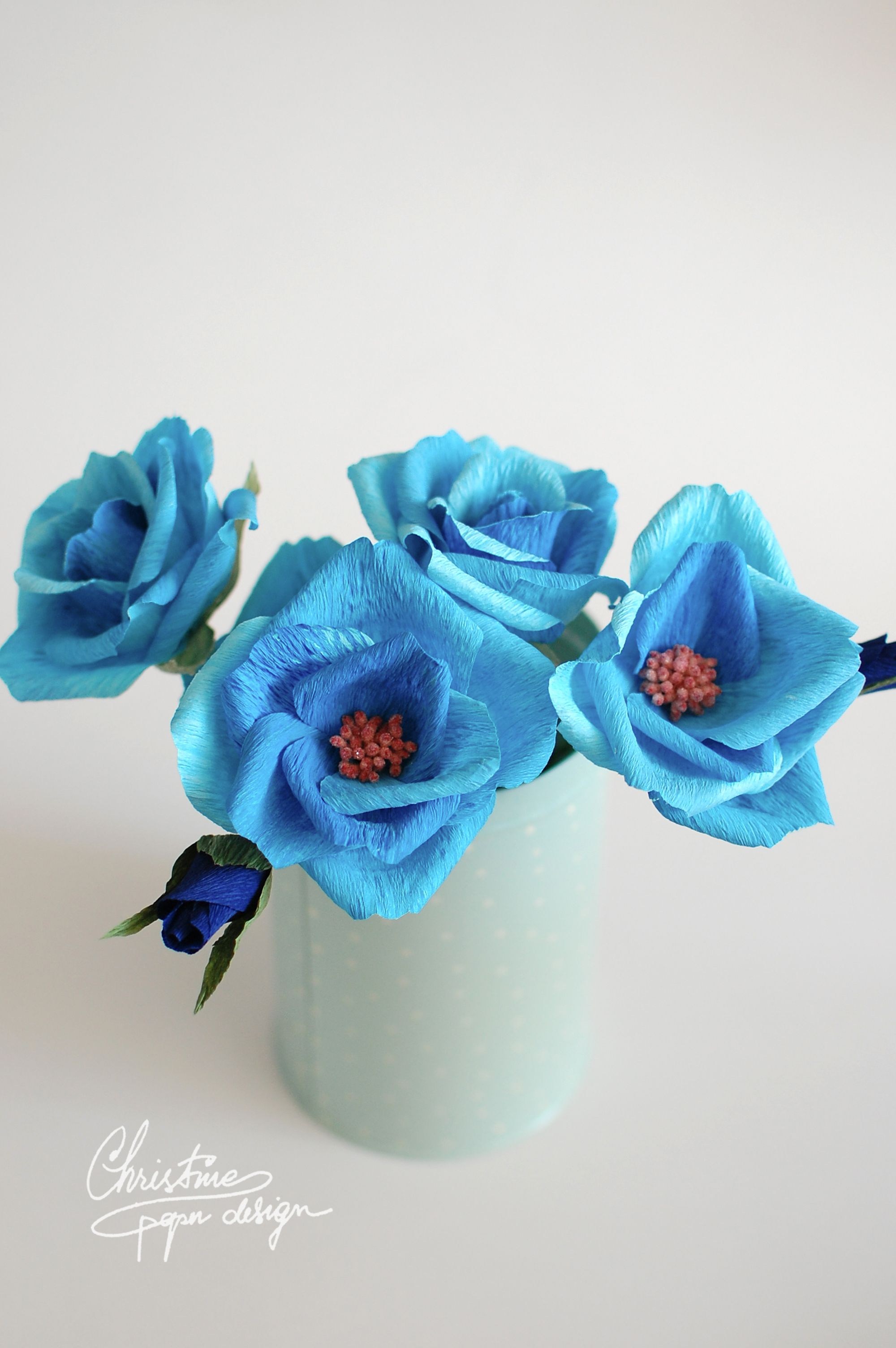 Diy Paper Flowers Paper Roses In Shades Of Blue Paper Flowers