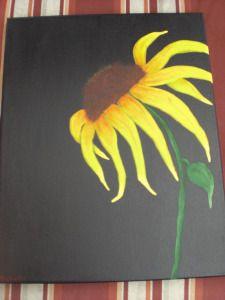 Sunflower Painting Black Background Black Background Painting