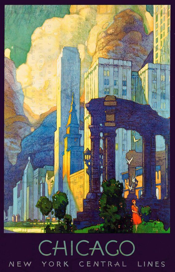 Chicago Travel Poster Art Deco Chicago New York Central Lines