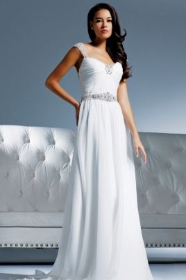 Chiffon Gown With Jeweled Capped Sleeves Belt And Neckline This Grecian Silhouette Feature With Images Wedding Dress Cap Sleeves Wedding Dresses Wedding Dress Chiffon