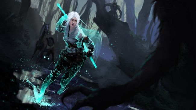 Full Hd Wallpaper The Witcher 3 Ciri Spell Splash Forest