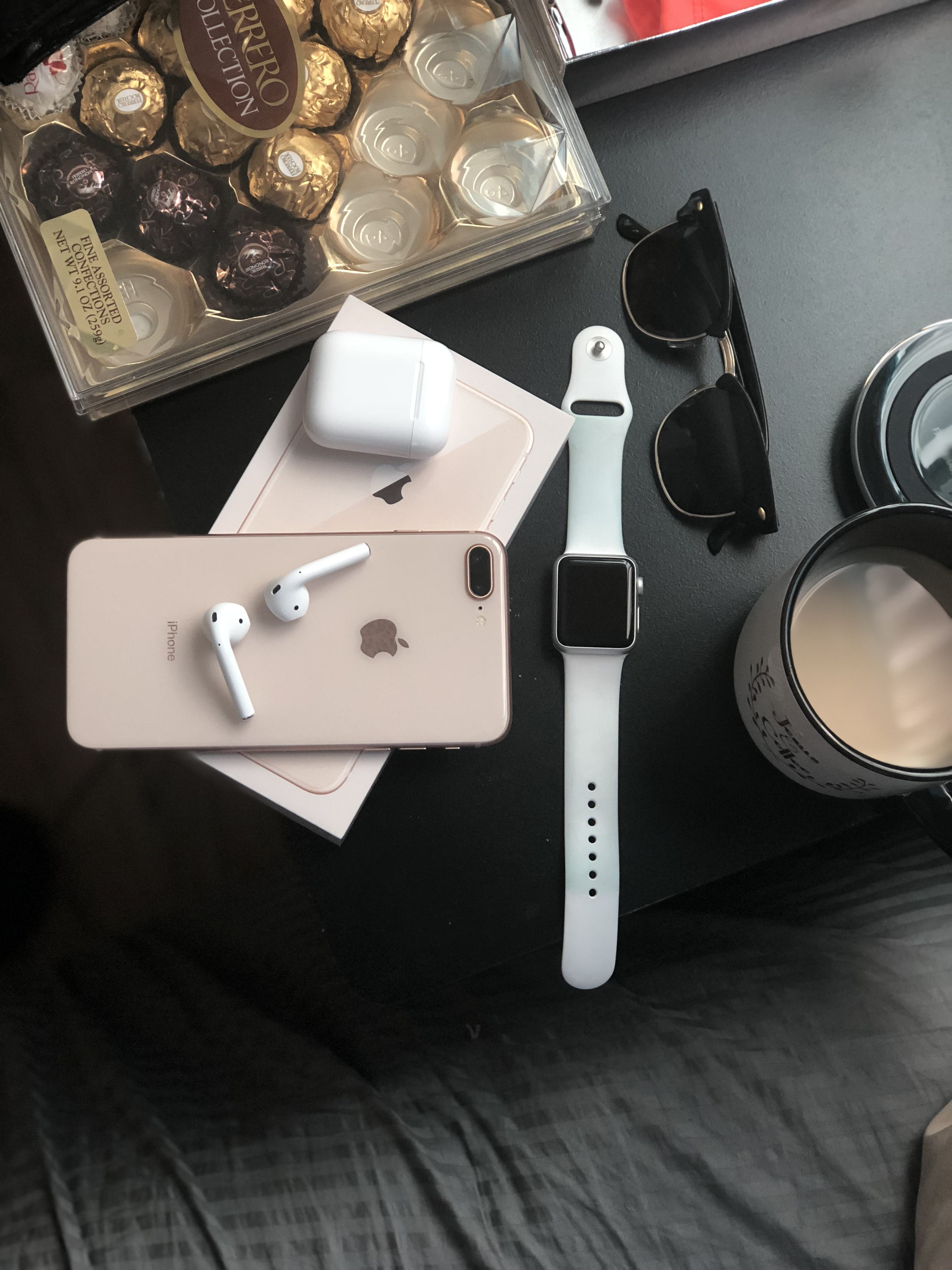 Iphone 8 Plus And Airpod Apple Watch Series 1 38mm Apple Iphone Accessories Apple Watch Iphone Apple Products
