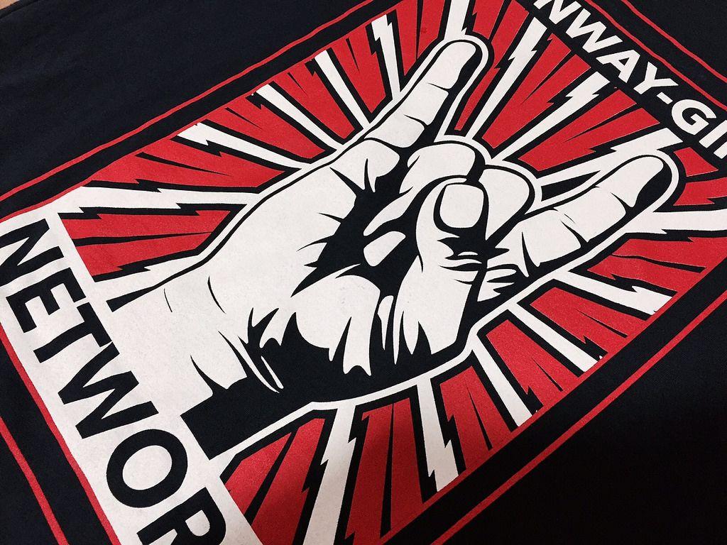 White & Red Print on Black Shirts