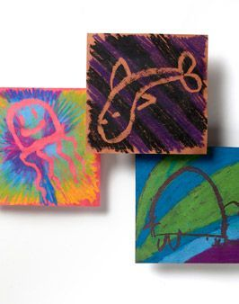 drawings - draw with soap, color over with oil pastels, then gently rub off of soap lines under cold water