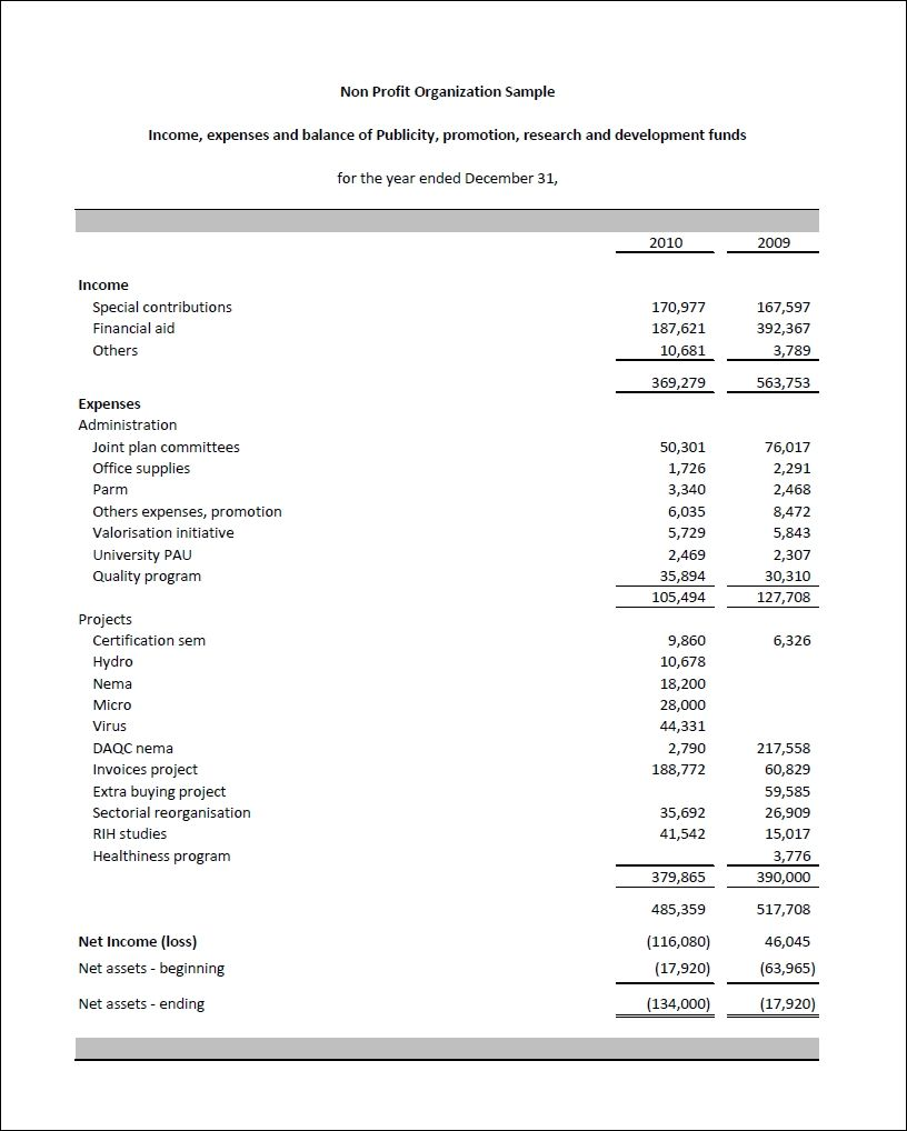 income statement for non profit organization template gallery design ideas balance sheet financial virgin galactic statements