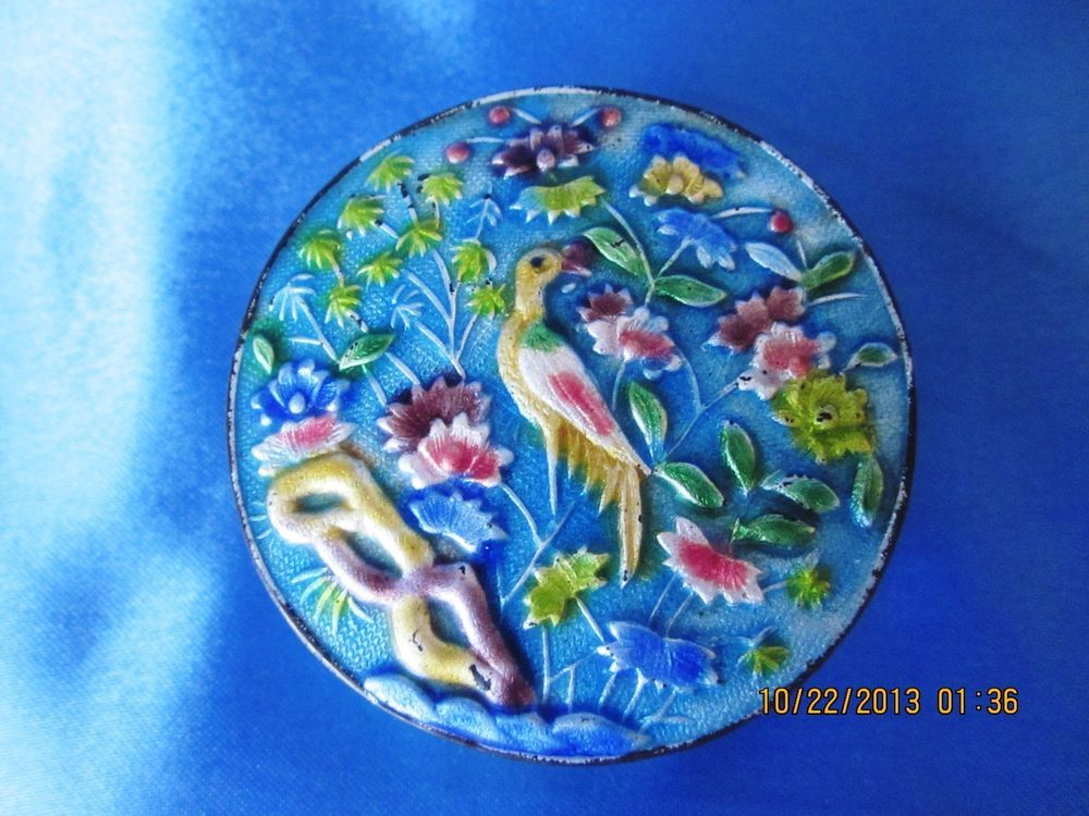 150-160 years old Enamel on Silver Chinese Cloisonné Pill Box, Rare, Antique