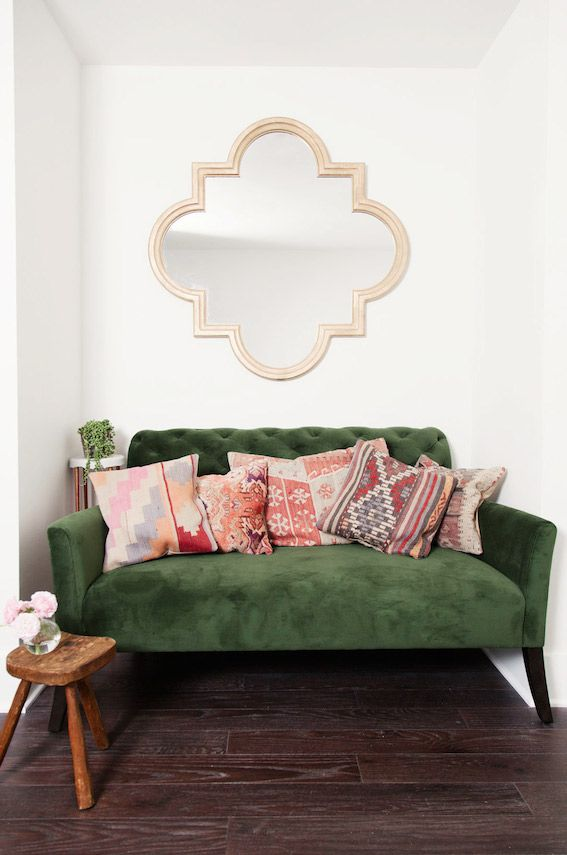 The Fab Light Filled Studio Of Camille Styles Green Couch