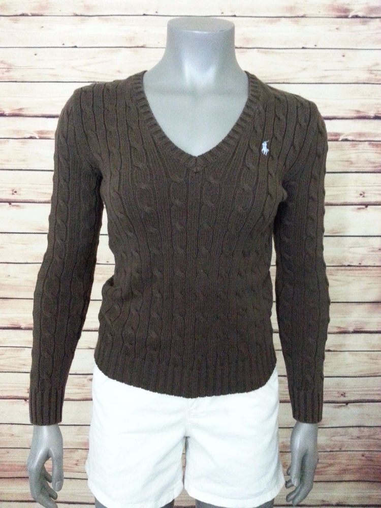Ralph Lauren Women's Cable Knit Cotton Sweater Size L | Cable ...