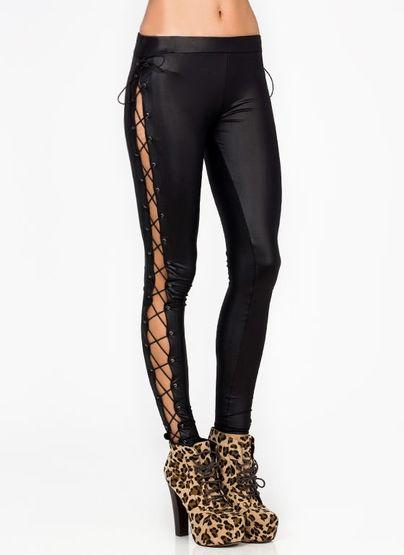 da5e6a0dac950 lace-up leggings | Outfit | Leggins, Me gustas, Botones