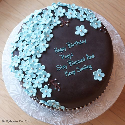 The Name Pooja Is Generated On Flowers Chocolate Birthday Cake