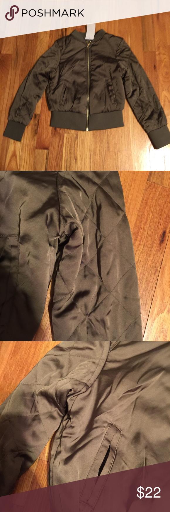 Army green satin jacket Brand new with tags Jackets & Coats