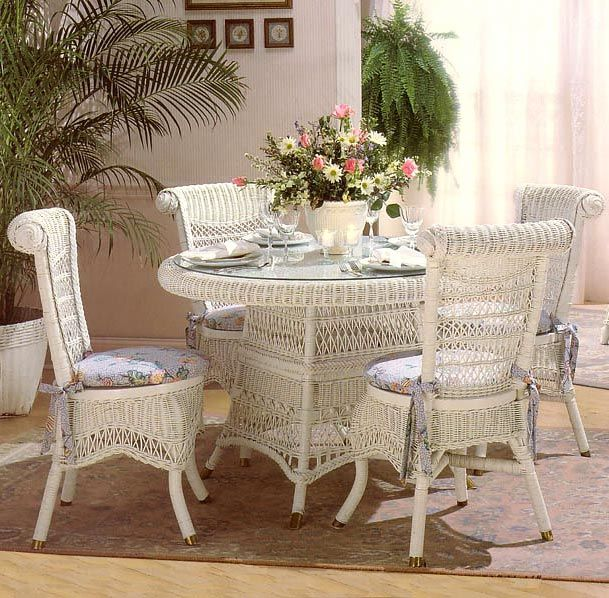 Wicker dining table  chairs Victorian/Vintage Wicker Pinterest