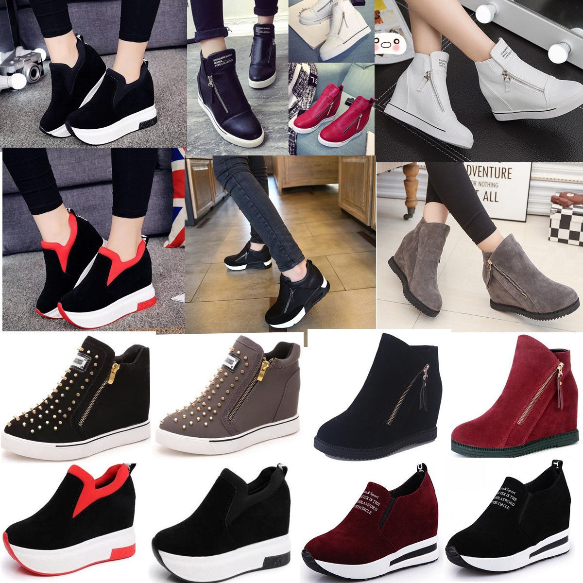 Casual Slip On Sporty Button Fashion Women Hidden Heeled Ankle Sneaker Boots