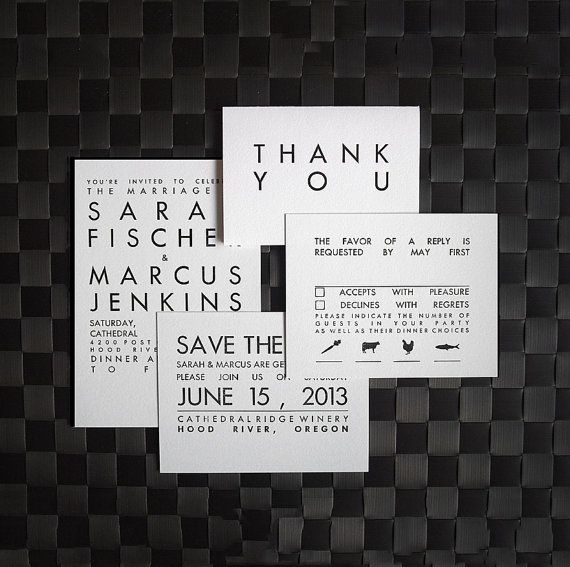 Mid Century Romance Save The Date Cards: Letterpress Save The Date Card Set