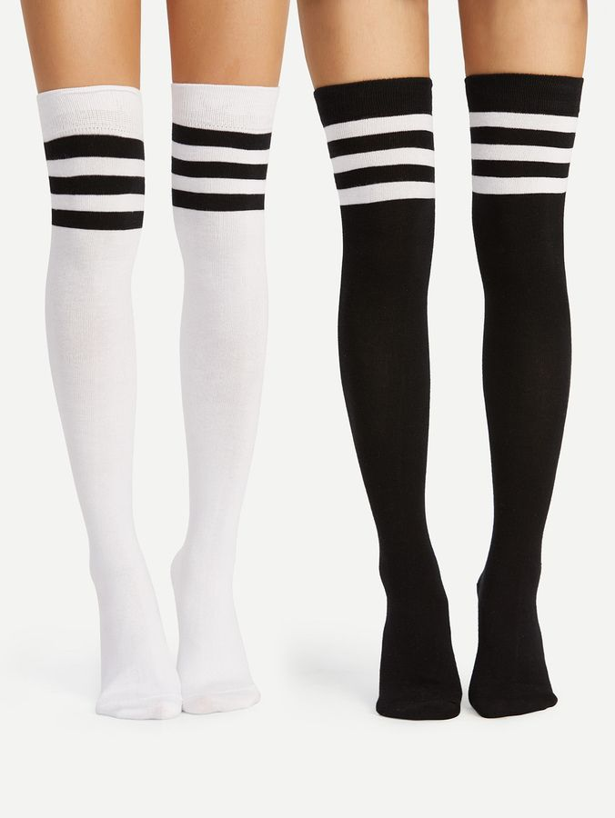 c2bf557be Striped Over The Knee Socks 2pairs in 2019 | Products | Over knee ...