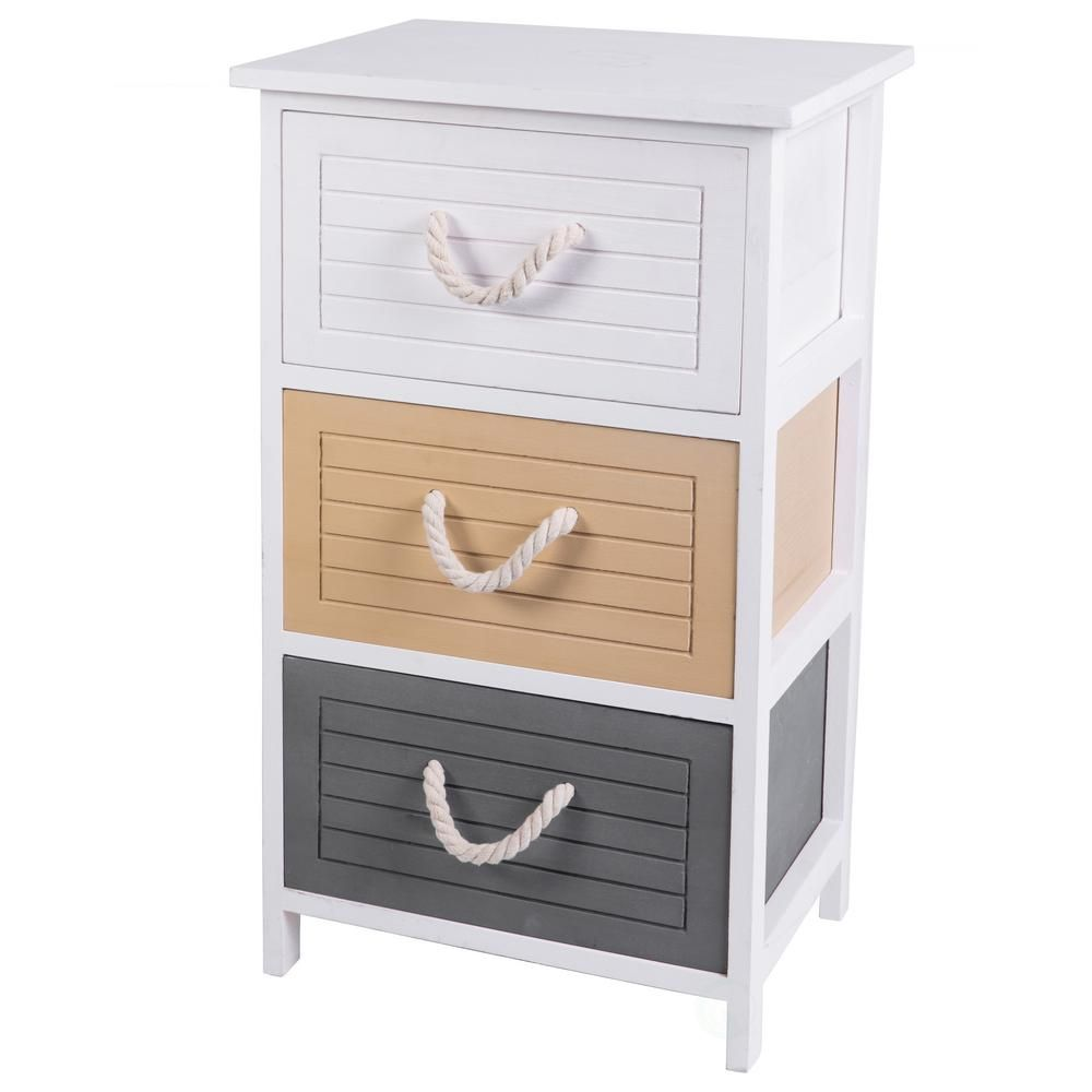 Uniquewise Multi Colored 3 Drawers Storage Chest Nightstand With Rope Handles Qi003435 3 Drawer Storage Storage Drawers Storage Chest