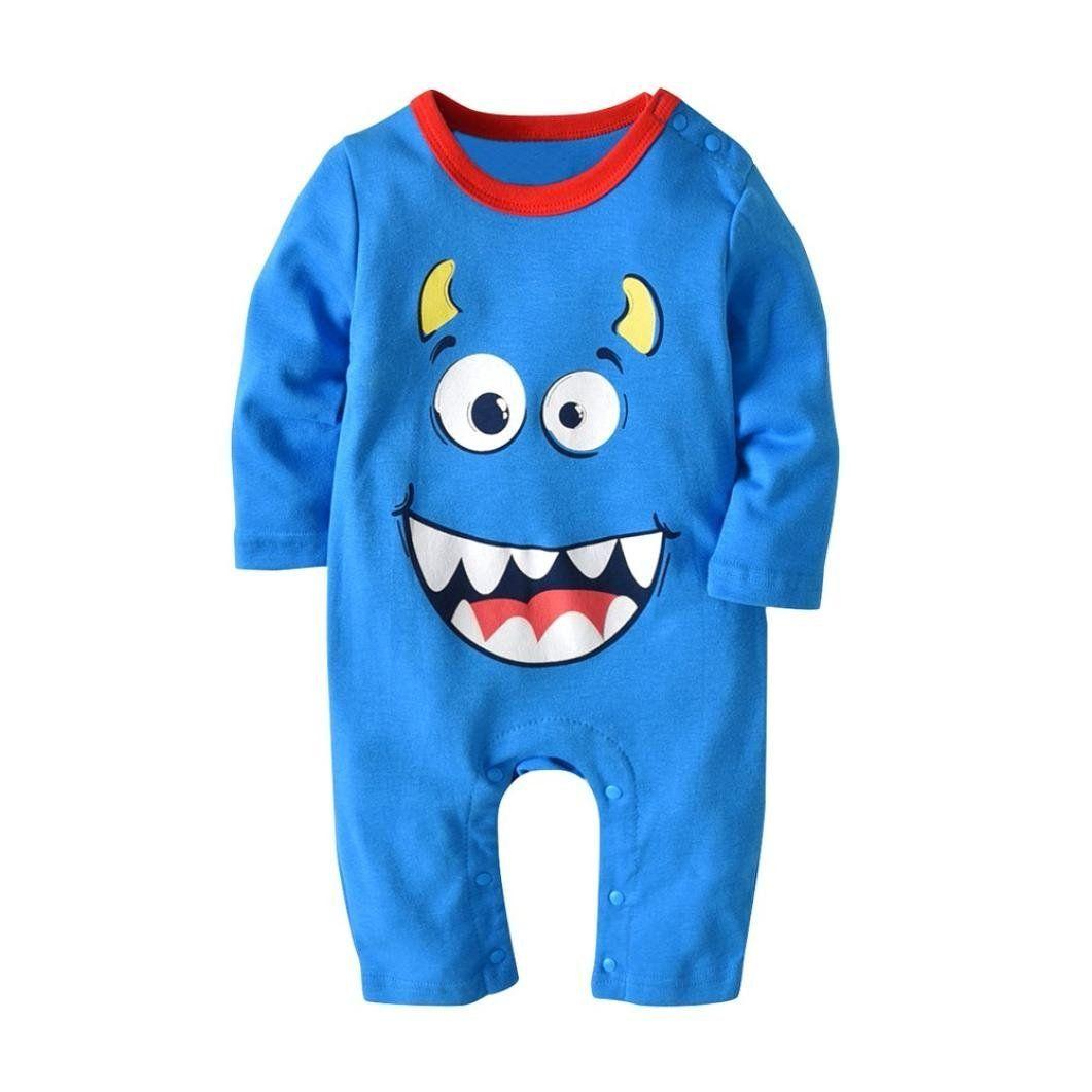 1a3ecc1819a6 Unisex Baby Boys Girls Long Sleeve Cartoon Halloween Pumpkin Romper Jumpsuit  Coveralls Hat 012 Months Light Blue    You could get additional information  at ...