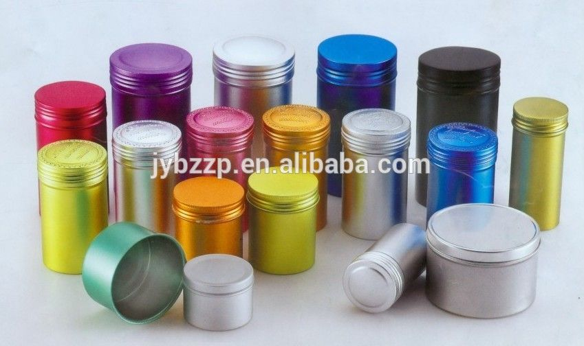 Colorful Cosmetic Packaging Aluminum Can With Screw Lid Empty Tin