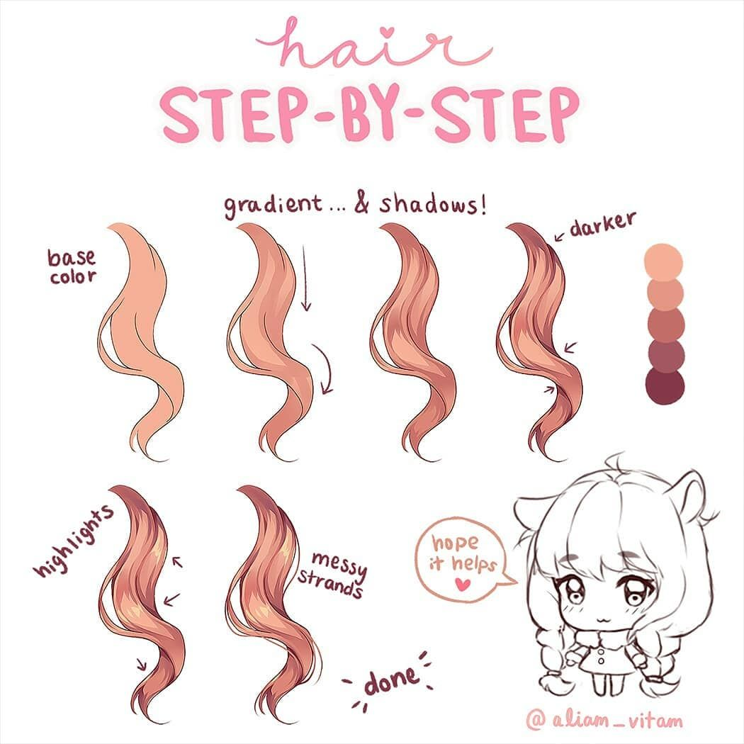 Hi Guys Some Of You Have Been Asking How I Color Hair So I Tried Making A Little Step By Step Digital Art Tutorial Drawing Hair Tutorial Digital Art Anime