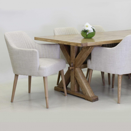 The Gorgeous Edward Oak French Cross Leg Dining Table With A Smooth Top Finish 2 4 Version Is Available In White Wash And Natural Finish Solid Wood Quality