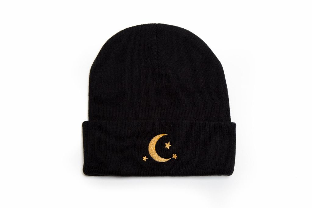 5054201929d Crescent Moon Stars Hat Embroidered Beanie from Beanie Bliss