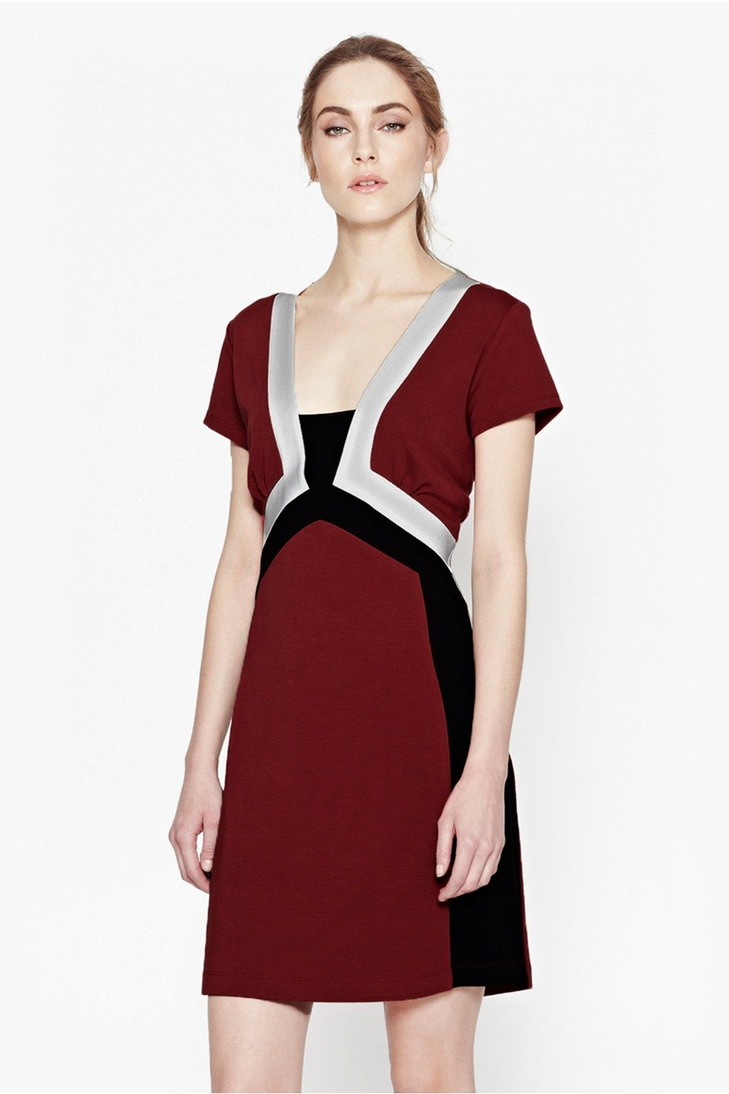 Ulue ucliue fitted dress with colourblock panels ucliue ucliue boat neck