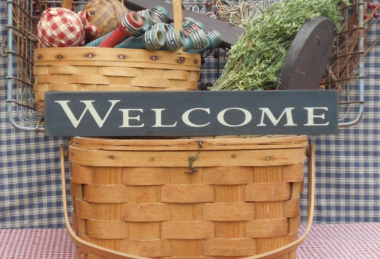 """Welcome painted wood sign 2.5"""" x 16"""" choice of color"""