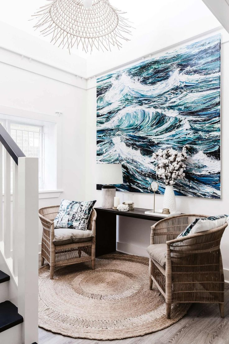Wave Painting With Images Coastal Decorating Living Room