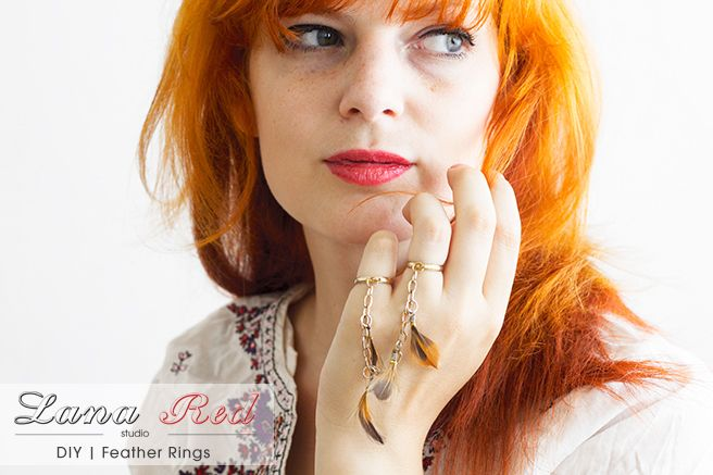 Lana Red Studio: DIY | Delicate Feather Rings