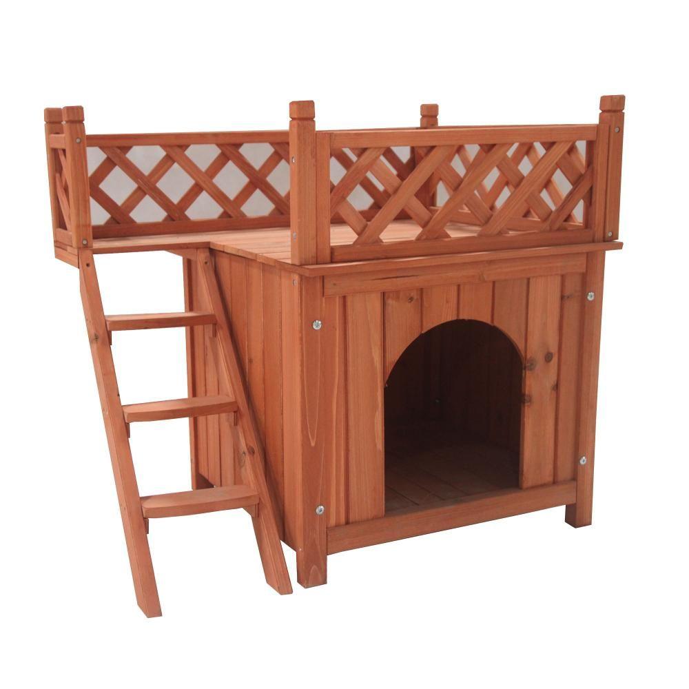 Aleko 28 In X 20 In X 25 In Wooden Dog Kennel Cedar Pet Home Luxurious Side Steps Balcony Pet Lounger Dh28x20x25wd Hd Wooden Dog House Wooden Dog Kennels Luxury Dog Kennels