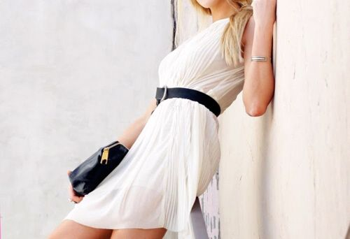 White dress with black accessories - oh yeah!