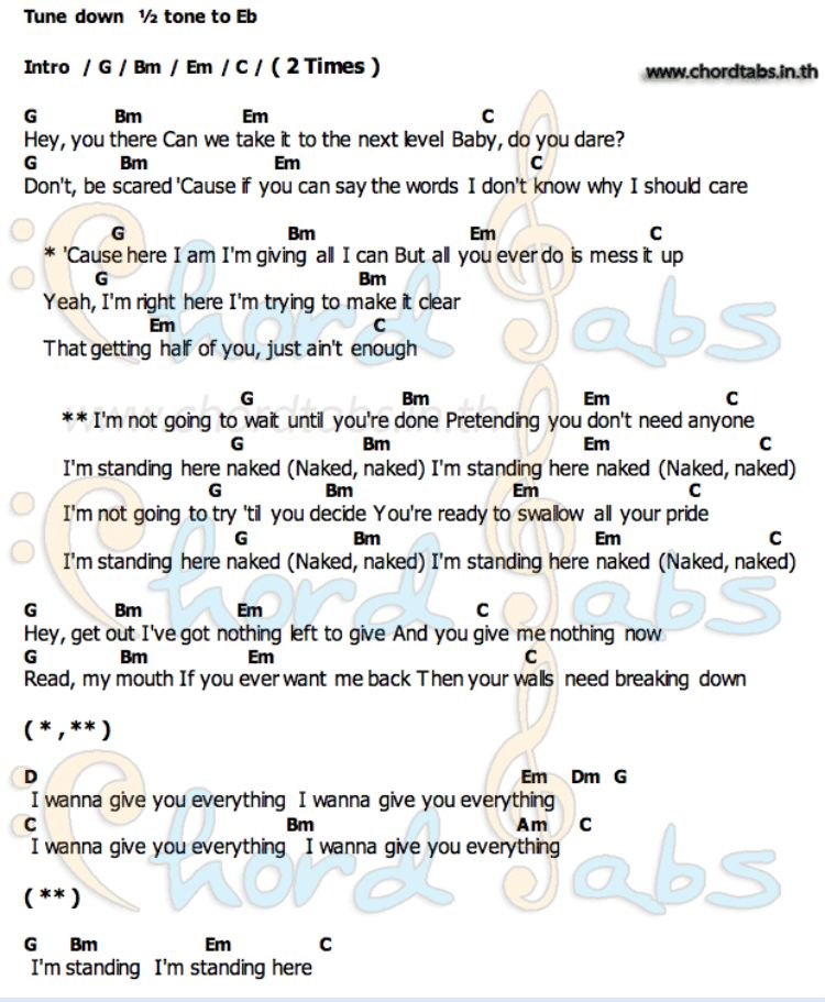 James Arthur Naked Sheet Music in G Major (transposable