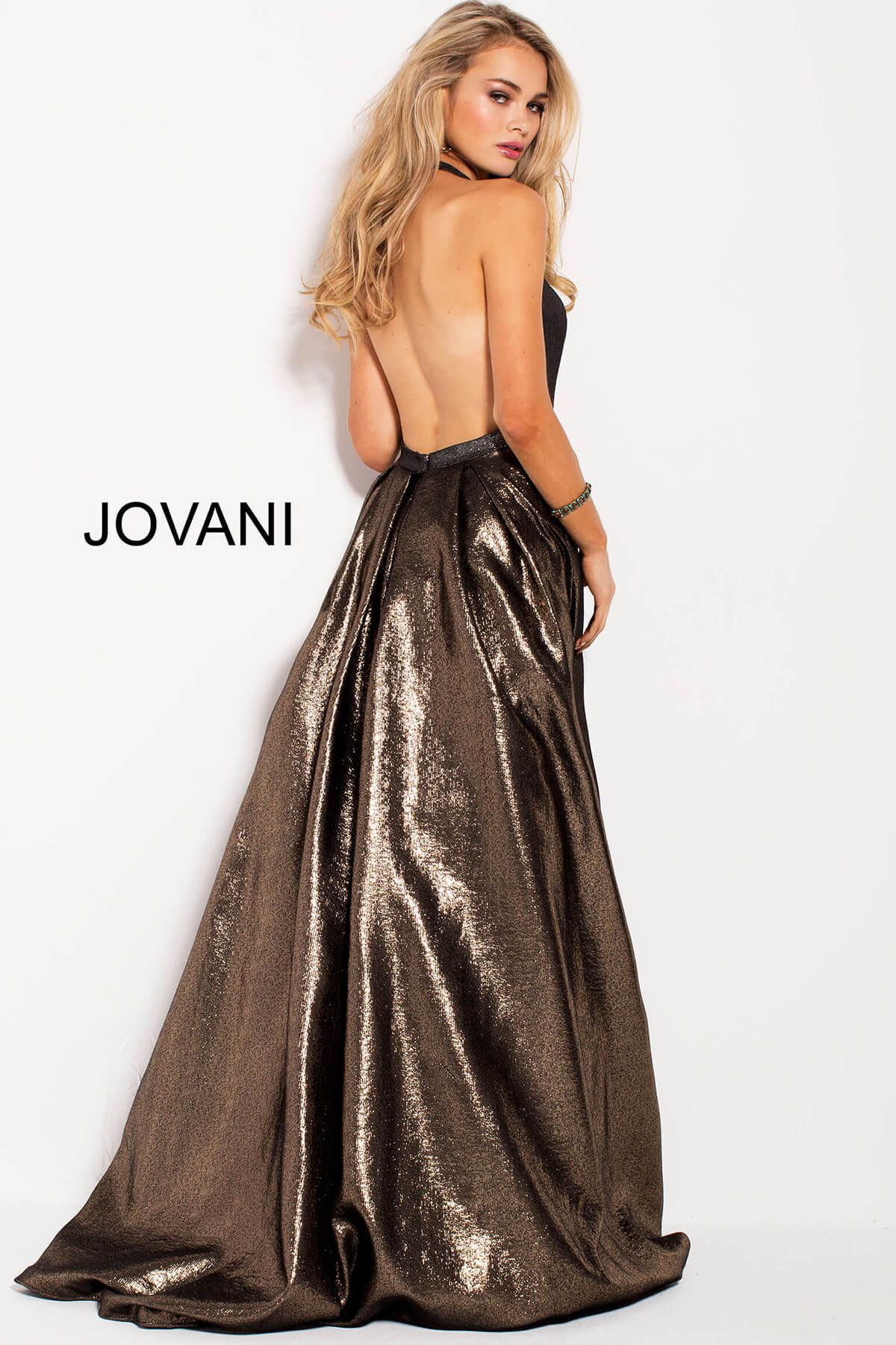 Jovani 57237 Gold Silver Metallic Halter A Line Prom Metallic Prom Dresses Backless Gown Backless Prom Dresses [ 1800 x 1200 Pixel ]