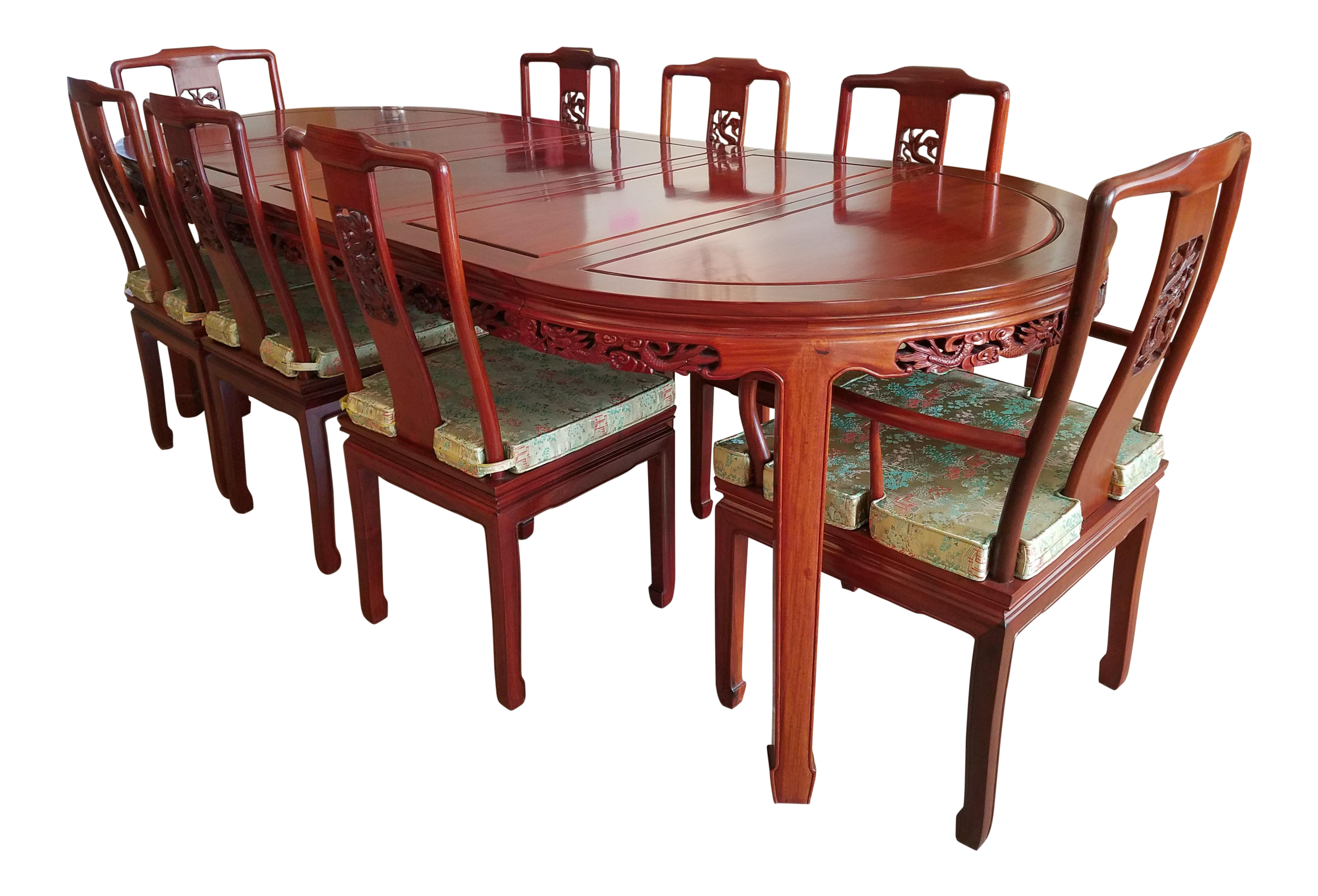 Vintage Chinese Rosewood Hand Carved Imperial Dragon Dining Table Chairs Set Of 9 On Chairish Com Dining Table Dining Table Chairs Table And Chairs