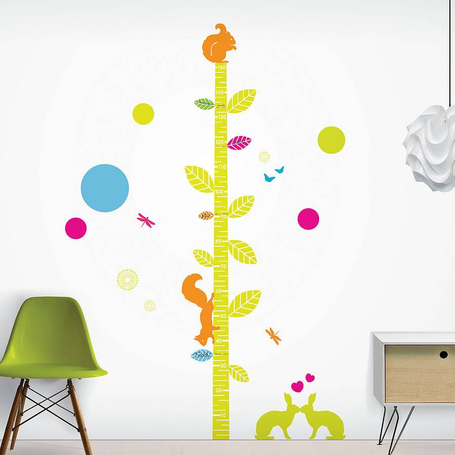 Woodland friends height chart height chart wall sticker and chart your childs growth development with our easily personalised wall sticker height chart amipublicfo Image collections