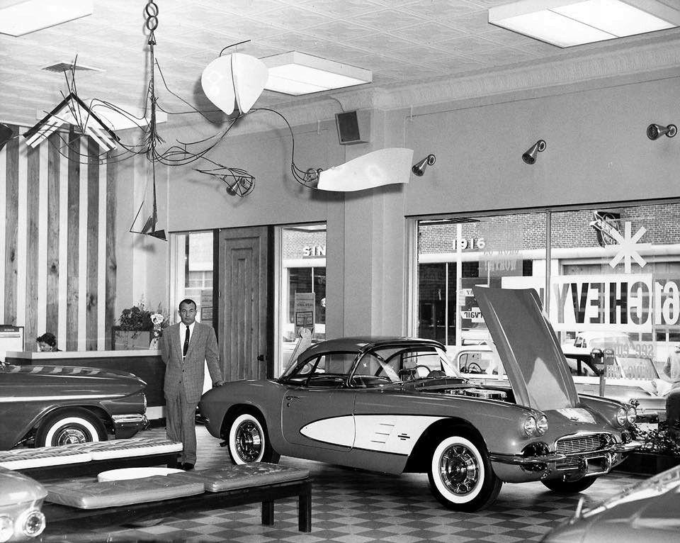 Yingling Chevrolet In Wichita Kansas Featuring A 1961 Corvette Vintage Corvette Car Dealership Chevrolet