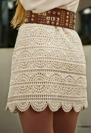 Falda de ganchillo - con patrones | Crochet y dos agujas | Tejer ...