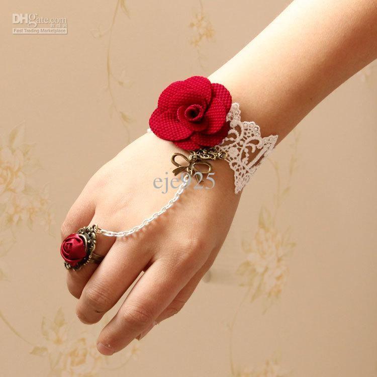 Lady Retro Flower Rose Beads Lace Bronze Women Adjustable Ring Bracelet Set
