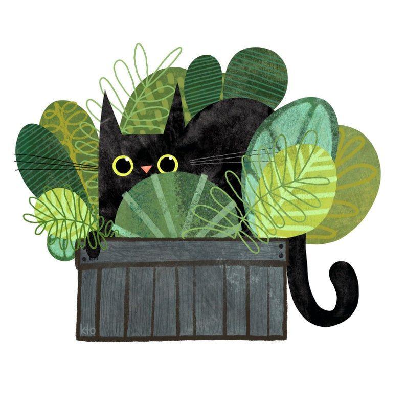 Cat Plant Print  Cat Illustration  Cute Art  Cat Lover | Etsy -   18 planting Illustration paintings ideas