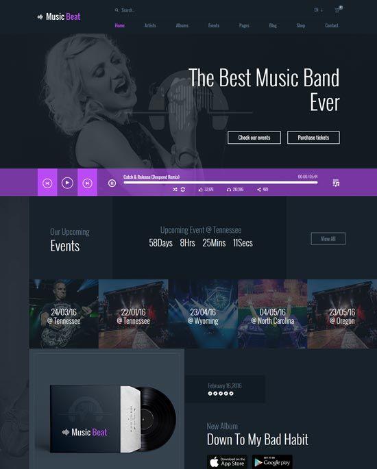Musicbeat Music Band Html Template Music Website Templates Free Website Templates Good Music