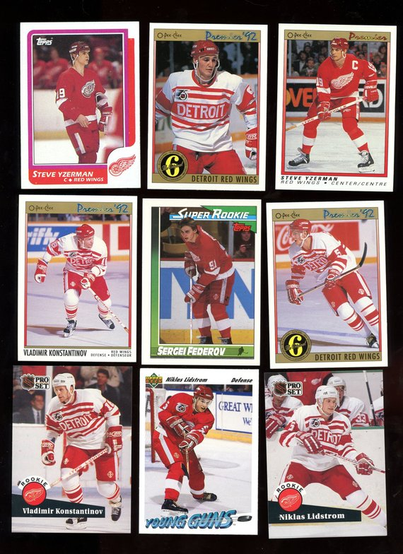 8d76cdc0c8e Detroit Red Wings Vintage 1986-1992 Hockey Card Lot of 9 cards ...