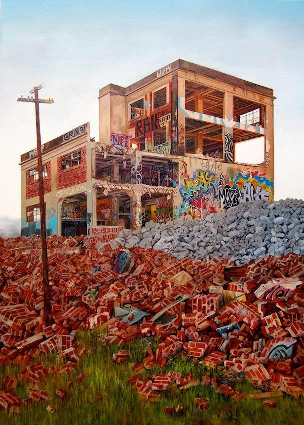 Les peintures ultra-réalistes de l'artiste américaine Jessica Hess, qui peint des paysages modernes de friches industrielles recouvertes de graffiti et de street art. De jolies peintures à l'huile photoréalistes où la nostalgie de ces lieux abandonnés se mêle aux couleurs éclatantes des graffiti…