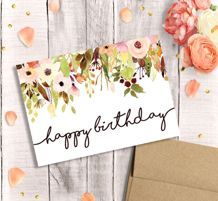 Birthday Card For Her Printable Happy Birthday Watercolor