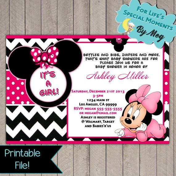 Minnie Mouse Baby Shower Invitation Printable File It S A Girl
