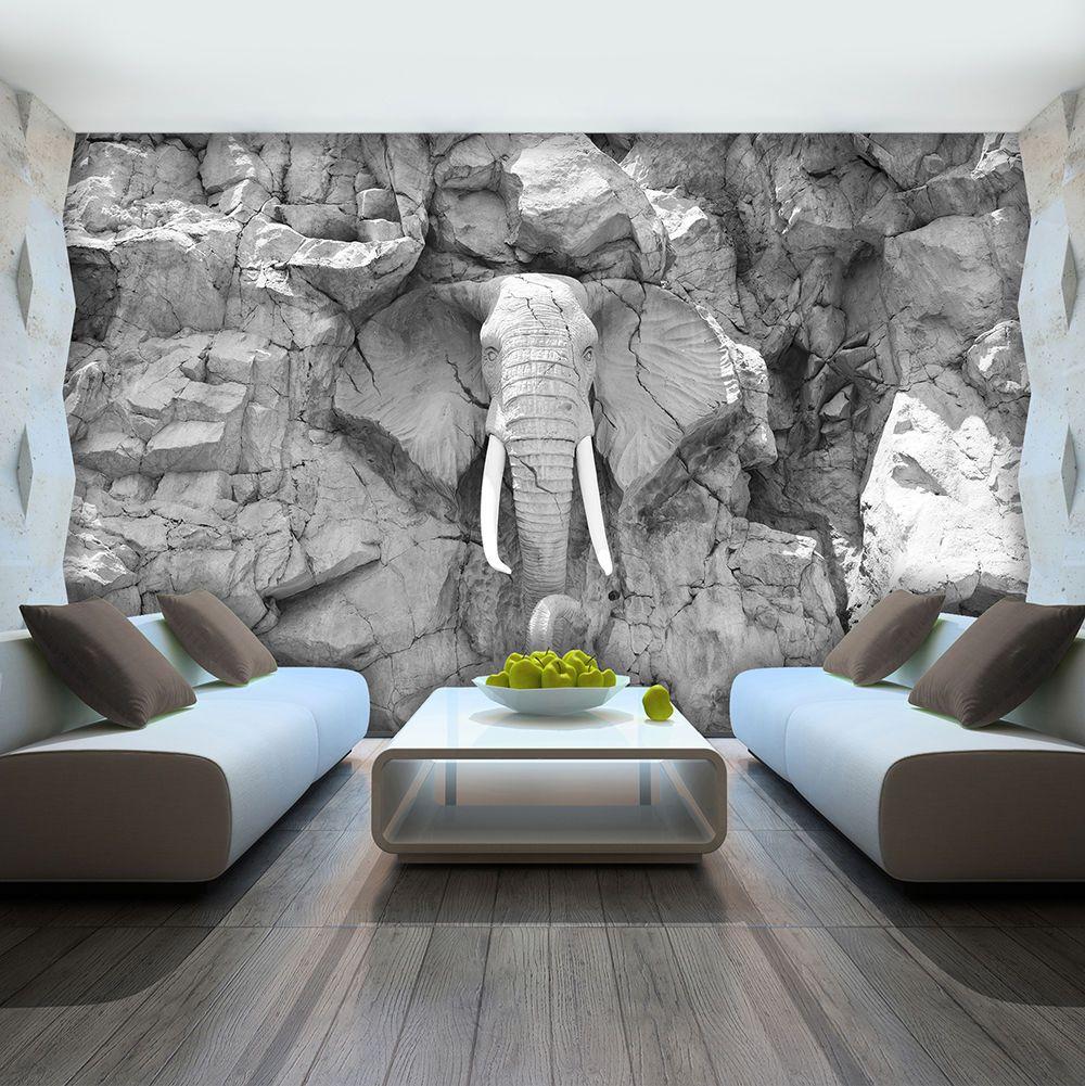 Perfekt BILD FOTOTAPETE TAPETE FOTO BILD Elefant Grau Wand Stein Skulptur 10116 P4