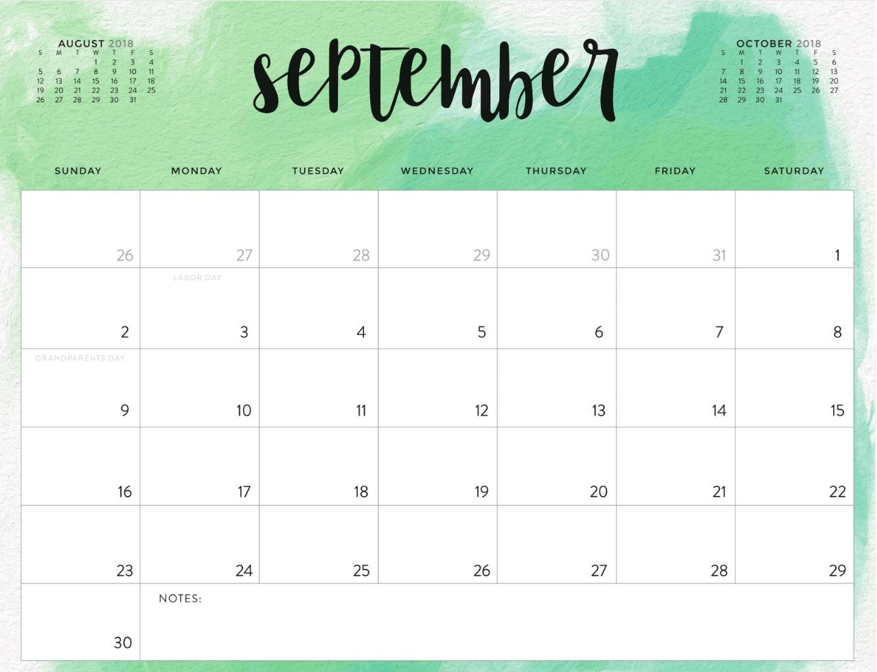 September 2018 Calendar Printable Waterproof | Printable ...